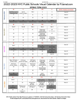 Back to School One Page Visual High School Planner NYCDOE