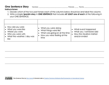 One Sentence Story - A Practice with Preterit & Imperfect