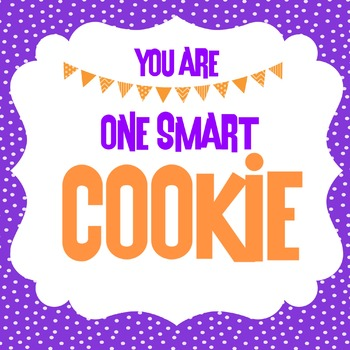 One Smart Cookie Label in PURPLE & ORANGE