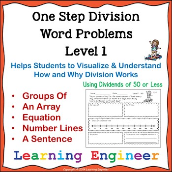 Division Word Problem Worksheets and One Step Equations (M