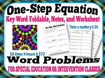 One-Step Equation Word Problem Bundle for Intervention & S