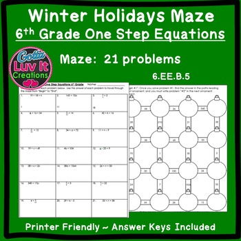 Christmas Activity: One Step Equations No Negatives Maze