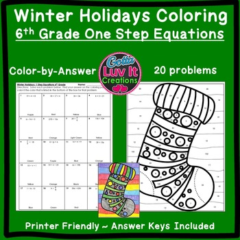 Christmas Activity: One Step Equations (No Negatives) Colo