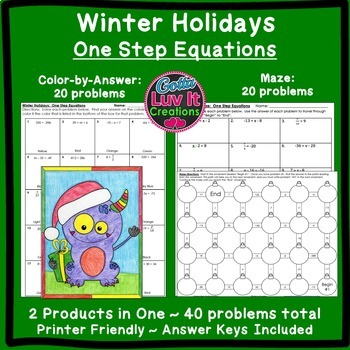 Christmas Math One Step Equations Maze & Color by Number C