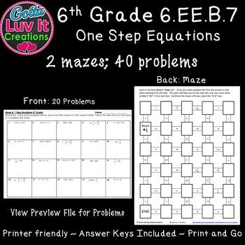 One Step Equations No Negatives - 2 Mazes
