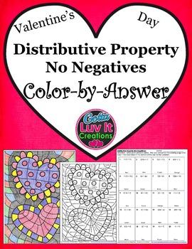 Valentine's Day Distributive Property No Negatives Color-b