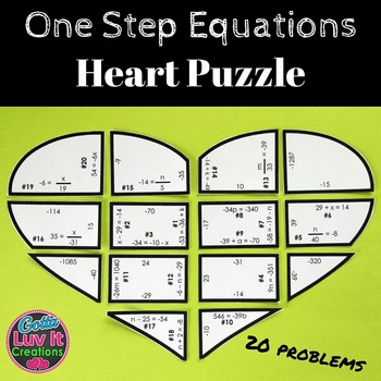 One Step Equations with Negatives Heart Puzzle