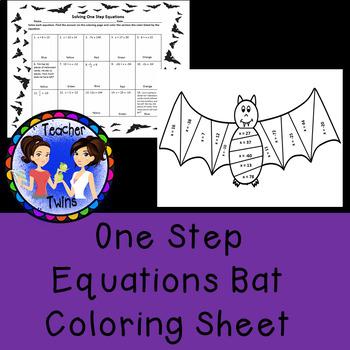 One Step Equations Bat Coloring Sheet