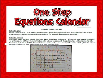 One Step Equations Calendar Project