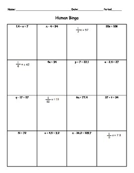 One Step Equations Human Bingo