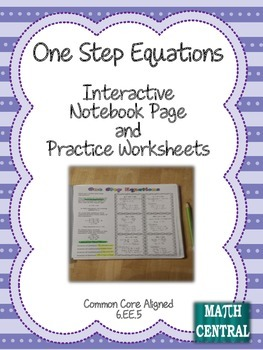 One Step Equations Interactive Notebook Page and Worksheets