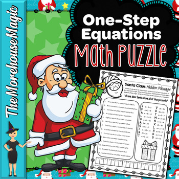 One-Step Equations Math Puzzle - Santa Claus!