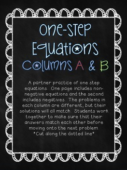6th/7th Grade Math One-Step Equations Partner Practice