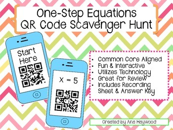 One Step Equations QR Code Scavenger Hunt