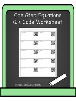 One Step Equations QR Code Worksheet