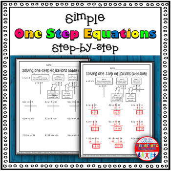 One Step Equation Worksheets: Simple Step-by-Step Resource