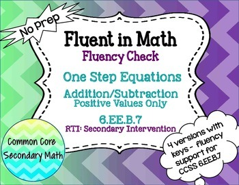 One Step Equations by Addition/Subtraction : No Prep Fluen