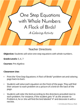 One Step Equations with Whole Numbers: A Flock of Birds Co