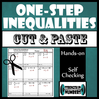 One-Step Inequalities Cut and Paste Activity with Number Lines