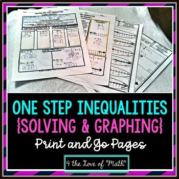 One Step Inequalities Print and Go