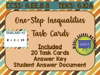 One-Step Inequalities Task Cards