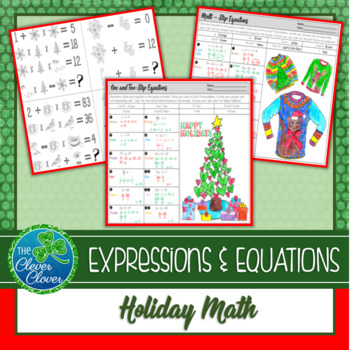 Holiday Math - One & Two-Step Equation Review 7.EE.4