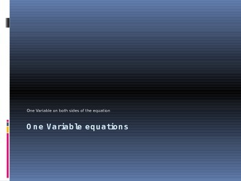 One Variable Equations