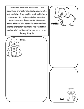 One and Only Ivan Character Traits Graphic Organizer