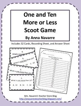 One and Ten More or Less Scoot Game
