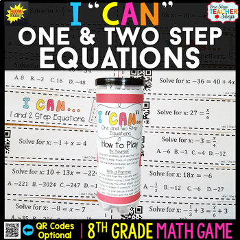One and Two Step Equations Eighth Grade Math Game