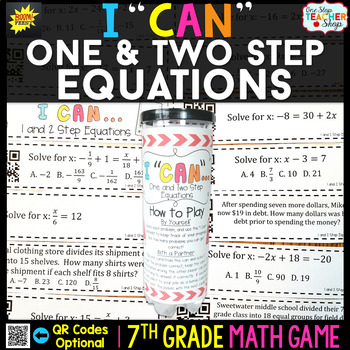 One and Two Step Equations Seventh Grade Math Game