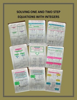 Math Interactive Notebook One and Two Step Equations