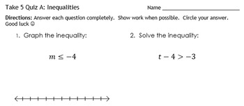 One and Two Step Inequality Take 5 Quiz