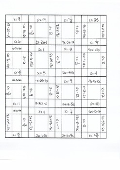 One and Two Steps Equations Puzzle (Variables on Both Sides)
