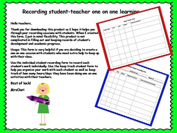 One on one track form for teachers (observation and record