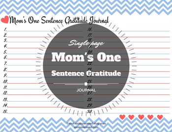 One sentence lined printable gratitude journal with hearts