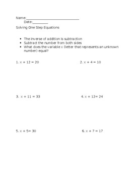 One step equations (addition)