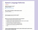 Online Speech and Language Referral Form (Google Form)