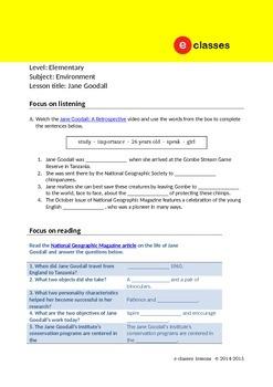 Online lesson [Elementary - Environment - Jane Goodall]