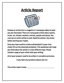 Online or Newspaper Article Report