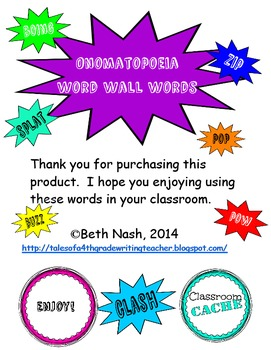 Onomatopoeia Word Wall Words
