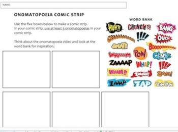 Onomatopoeia comic strip worksheet
