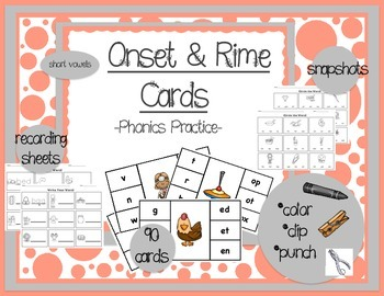Onset and Rime Cards {Clip, Record, Assess}