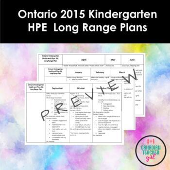 Ontario 2015 Kindergarten Health and Physical Education Lo