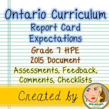 Ontario Curriculum Expectations Checklist - Grade 7 Health