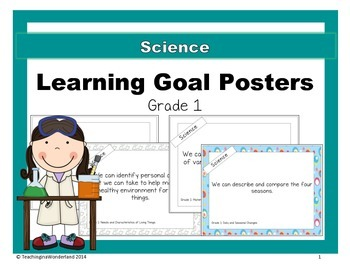 {Grade 1} Science Learning Goal Posters