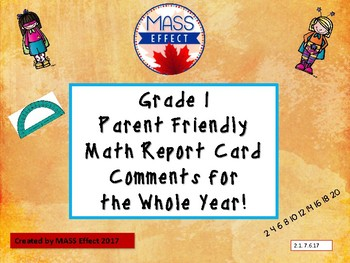 Grade 1 Ontario Math Report Card Comments - All Terms