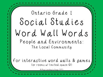 Ontario Grade 1 Social Studies Word Wall Words - The Local