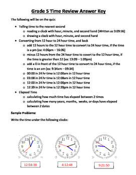 Ontario - Grade 5 Time Quiz, Review and Answer Keys