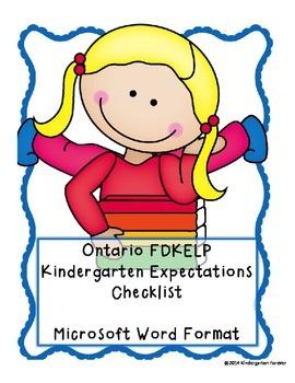 OLD Ontario Kindergarten (FDK) Expectations Checklist -Wor